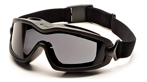 Pyramex V2G Safety Goggles with Adjustable Strap, Black Frame, Dual Gray H2X Anti-Fog Lens by Pyramex Safety