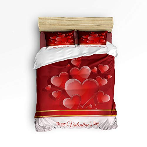 Trendier Full Size Christmas 4 Piece Duvet Cover Set with Zipper for Kids,Happy Valentine's Day The Shape of Red Heart Comforter Cover Sets,Include 1 Duvet Cover + 1 Bed Sheets + 2 Pillow Case