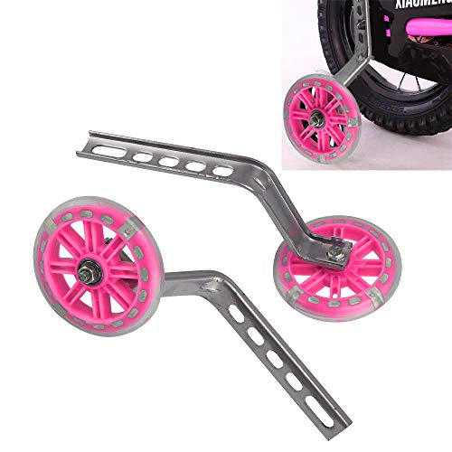 Ballshop 1 A Pair Universal 12-20″ LED Flashing Children's Bicycle stabilisers Kids Training Wheel Easy Fit Bike Pink