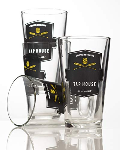 GiftTree Tap House Custom Beer Glasses   Set of 4 Pint Glasses made by Libbey Glass   Perfect Present for Housewarming, Wedding, Groomsmen, Father's Day, Birthday and Holidays by GiftTree (Image #4)