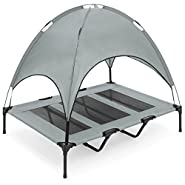 "Best Choice Products 48"" Raised Mesh Cot Cooling Dog Bed w/ Canopy Tent, Travel Bag"