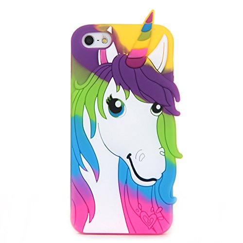 3D Soft Silicone Case Back Covers for Apple iPhone SE / iPhone5 / iPhone5s Protective Fancy Fresh Chic Cute Lovely Cool Design for Girls Teens Kids Women (Green Unicorn)
