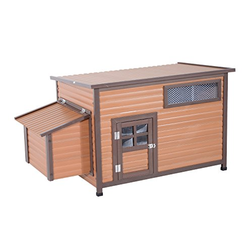 "Pawhut 57"" Outdoor Elevated Hen House Chicken Coop - Brown"