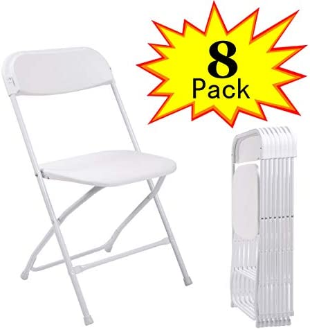 Sandinrayli Set of 8 White Plastic Folding Chairs Commercial Quality Stackable Chairs