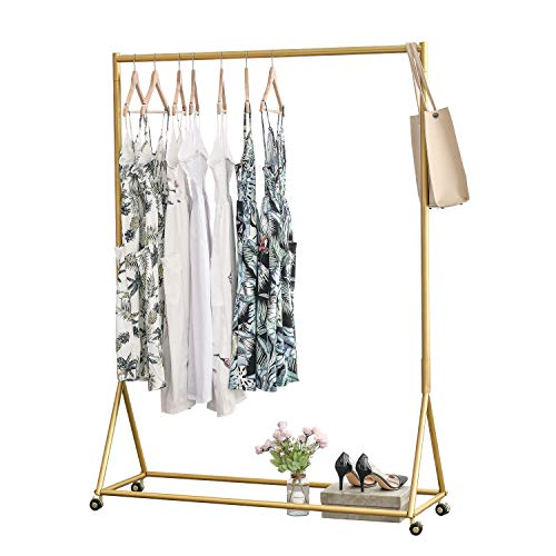 "BOSURU Modern Clothes Rack Retail Display Clothes Rack Freestanding Garment Rack Easy Assemble Clothing Rack for Bedroom or Boutiques Gold 47"" L"
