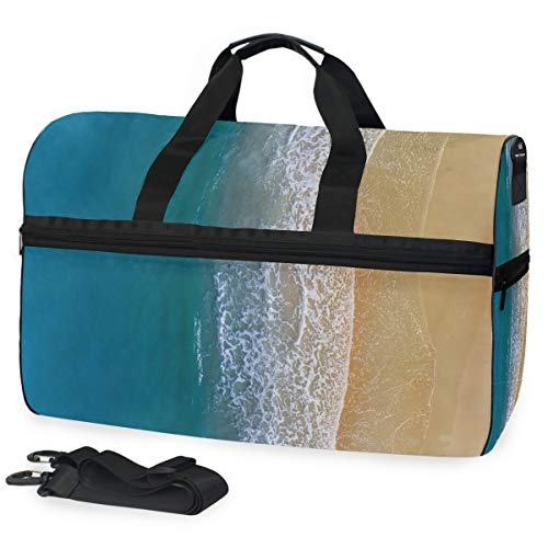 Gym Bag Wave Duffle Bag Large Sport Travel Bags for Men Women]()