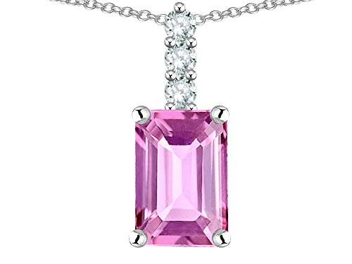 - Star K 8x6mm Octagon Emerald Cut Created Pink Sapphire Three Stone Pendant Necklace 14 kt White Gold