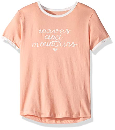 (Roxy Girls' Big Eye On You Raglan T-Shirt, Salmon, 8/S)