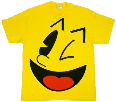 Adults Big Pac-Man Face T-shirt, Yellow, S to 3XL