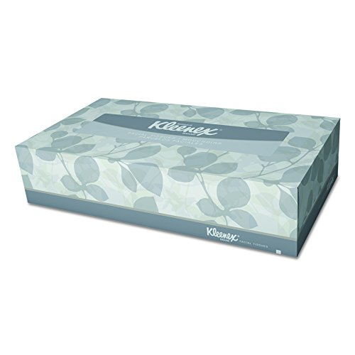 Kleenex 21606BX White Facial Tissue, 2-Ply, White, Pop-Up Box (Box of 125 Tissues)