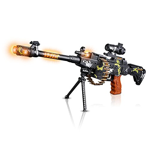 ArtCreativity Toy Machine Gun with Scope, Stand & Carrying Strap Flashing Lights, Sounds and Unique Revolving Rounds | Thrilling 25