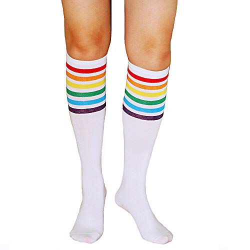 Unisex Knee High Socks Womens Girls Striped Over Calve Athletic Soccer Tube Cool Fun Party Cosplay Socks, White Rainbow,One Size 6-11