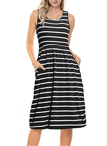 Mulysaa Women's Summer Stripe Empire Waist Loose Casual Midi Dress with Pockets Black M ()