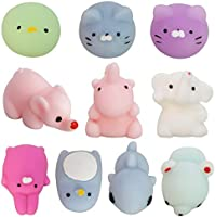 Set of 10 Animal Squishies, Stress Relief Toys