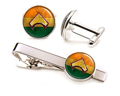 Aquaman Tie Clip Tack, Justice League Cufflinks, Avengers Cuff Links Link Tack, Marvel Jewelry, Groomsmen Gift Wedding Party Gifts Father's Day Present Birthday Presents Cufflink -