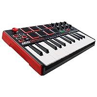 Akai Professional MPK Mini MKII | Teclado MIDI USB portátil de 25 teclas con 16 almohadillas retroiluminadas listas para el desempeño, 8 botones asignables Q-Link y una palanca de mando de 4 vías