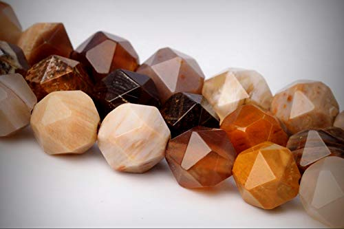 - 5-6mm Brown Petrified Wood Jasper Star Cut Faceted AAA Loose Jewelry Making Beads 15