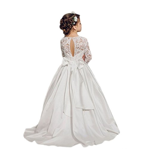 Banfvting Ivory Flower Girl Dress with Bow Sleeves Lace Long Toddler Prom Gown by Banfvting (Image #2)