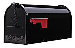Gibraltar Mailboxes Elite Medium Capacity Galvanized Steel Black, Post-mount Mailbox, E1100b00