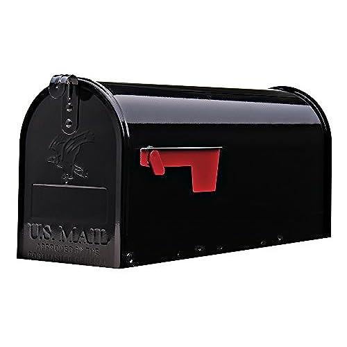 Gibraltar Mailboxes Elite Medium Capacity Galvanized Steel Black,  Post Mount Mailbox, E1100B00
