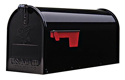 Gibraltar Mailboxes Elite Medium Capacity Galvanized Steel Black, Post-Mount Mailbox, -