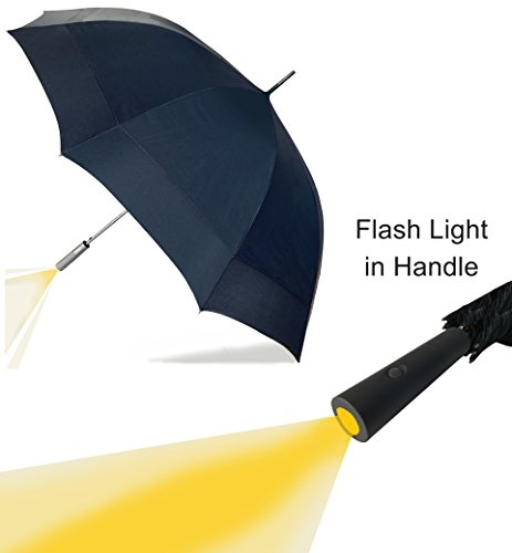 Fibreglass Shaft (Large Umbrella with LED Flash Light in the Easy Grip Handle. Super Strong & Waterproof, 10 Metal Ribs & Fibreglass Shaft, Largest Double Wind Vents in the Market. Highest Quality 210T UV Fabric)