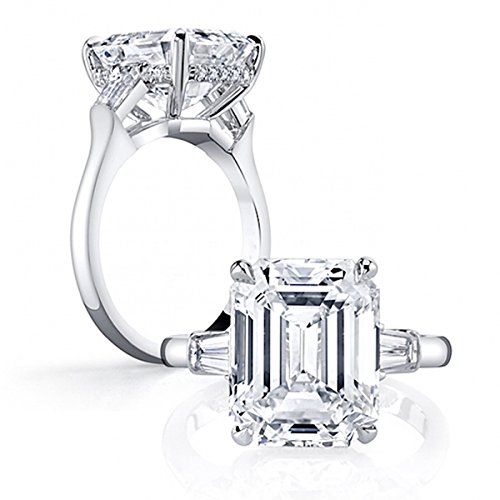 Erllo Emerald Cut Sona Diamond Cubic Zirconia CZ 3 Stone Engagement Wedding 925 Sterling Rings - Baguette Sterling Plated Silver