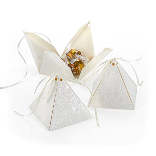 (Hortense B. Hewitt Pyramid Favor Boxes, 3-Inch, Lace Shimmer )