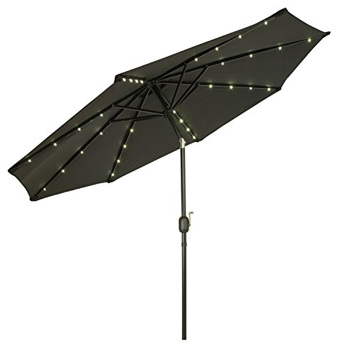 Elegant Trademark Innovations Deluxe Solar Powered LED Lighted Patio Umbrellas, 9u0027,  Black