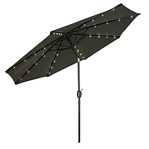 Trademark Innovations Deluxe Solar Powered LED Lighted Patio Umbrellas, 9u0027,  Black