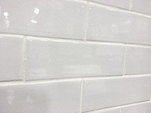 3x9 Vanilla Bean White Crackled Porcelain Tile Wall Backsplash