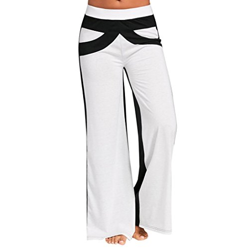 SFE Women Fashion High Waist Stripe Print Floral Wide Leg Pants, Black and White Stripes (L, Black)