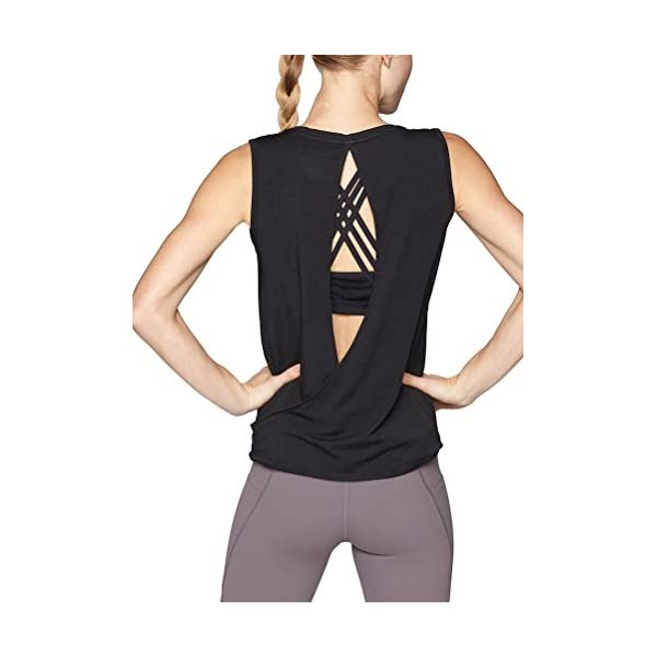 Mippo Workout Clothes for Women Cute Open Back Yoga Tops Muscle Tank Running Tank Tops