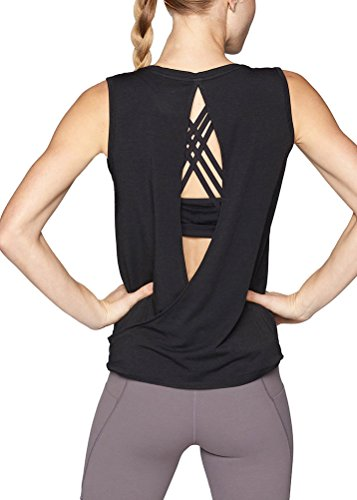 Mippo Women's Sexy Open Back Workout Tops Backless Yoga Tops Loose Fit Cute Athletic Sprots Racerback Tank Top Basic Running Tee Work Out Cloth Activewear Black ()