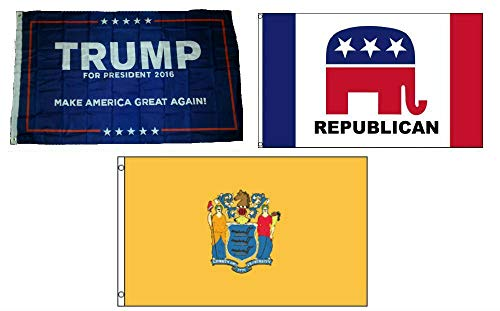ALBATROS 3 ft x 5 ft Trump #1 with Republican with State of New Jersey Set Flag for Home and Parades, Official Party, All Weather Indoors Outdoors