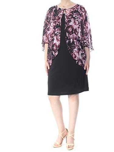 (CONNECTED Womens Black Floral Chiffon Capelet Dress 18W Plus)