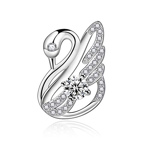 L&B Olivia Swan Pendant Necklace for Women S925 Sterling Silver Necklace Pendant for Girls Swan(Pendant only, Without Chain) (White(Pendant only))