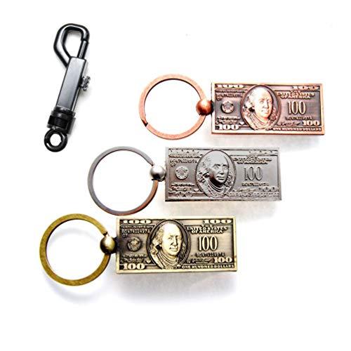 Favorict $100 Hundred Dollar Bill NY Keychain with Swivel Bolt Snap Keychain Hooks Belt Clip US Souvenir Gift Key Ring (4 Pack)