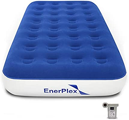 EnerPlex Never-Leak Camping Series Twin Camping Airbed with High Speed Pump Luxury Twin Size Air Mattress Single High Inflatable Blow Up Bed for Home ...