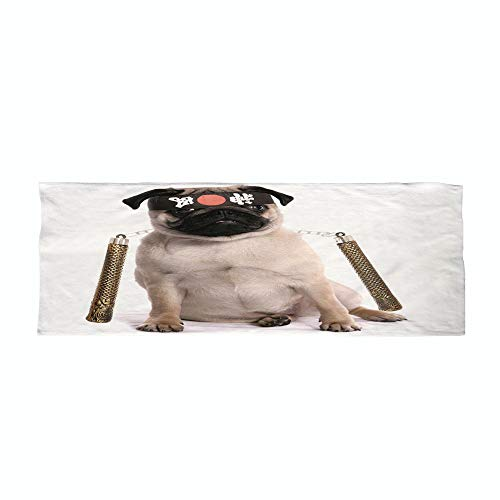 iPrint Cotton Microfiber Sports Towel,Pug,Ninja Puppy with Nunchuk Karate Dog Eastern Warrior Inspired Costume Pug Image Decorative,Cream Black Gold,for Sports,Workout,Travel,& More