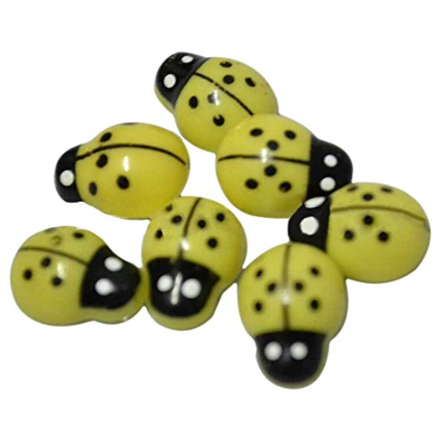 Gilroy 100 Pcs Mini 3D Plastic Ladybird Home Decor Wall Stickers Kids Toys DIY Ladybug (Yellow)]()