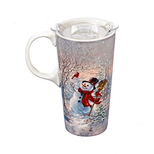 Cypress Home Frosty Forest Friends Ceramic Travel Cup and Tritan Lid - 17 OZ