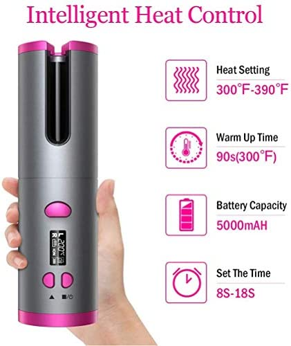 YOUKUKE Cordless Auto Curler, USB Rechargeable Curling Tongs with LCD Display, 150℃-200℃ Control, L/R Rotating Curler with Full Anti-Scalding for Home & Travel Use  lz8oC