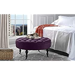 Divano Roma Furniture - Round Tufted Microfiber Coffee Table with Casters, Ottoman with Wheels (Purple)