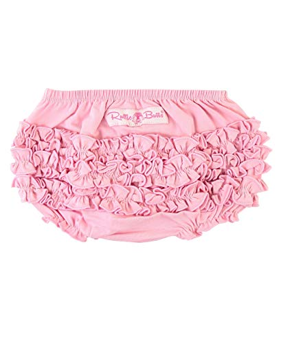 RuffleButts Baby/Toddler Girls Baby Pink Knit Ruffle Nappy Cover - - Pink Bloomers Diaper Cover Panty