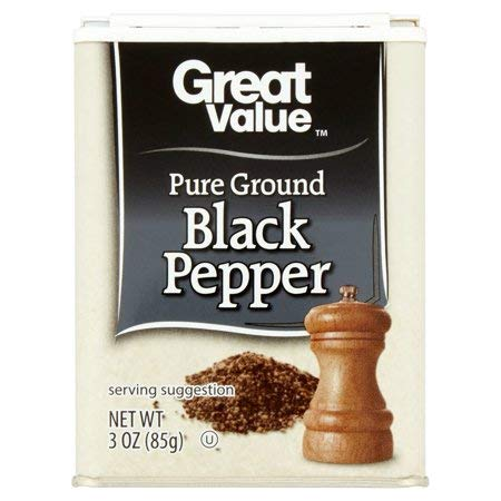 Pure Ground Black Pepper, 3 oz,Comes in Handy for Refilling Smaller Pepper Shakers by Great Value