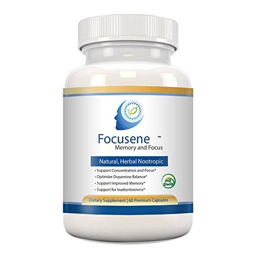 Mental Focus Supplement - Focusene. Caffeine-free brain support supplement for Brain Enhancement, Memory Loss, Focus and Energy. Non-addictive brain boosters. Improve brain function with Nootropics,60 Premium Capsules