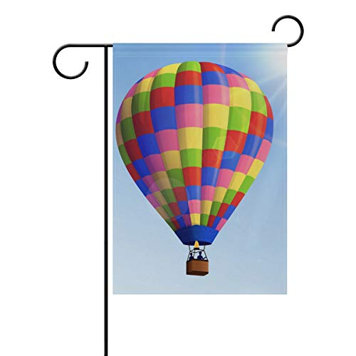 Lilibeely Home Garden Flags Air Balloon Print Double Sided Decorative House Flags Yard Flag Banner Spring Winter for Wedding Christmas Birtday Party Decorations -