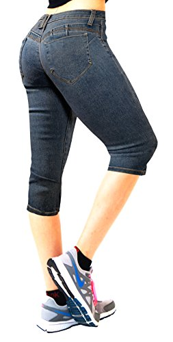 8541f14e73e4 HyBrid & Company Women's Butt Lift Super Comfy Stretch Denim Capri Jeans  Q37362X Medium BLU 16