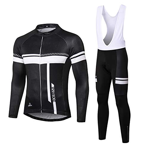 INBIKE Cycling Jersey Men Set Bib Long Sleeve Bike Shirt Gel Padded Bib Pants Black L